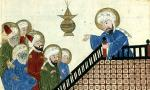 Persian or central Asian illustration showing Mohammed (on the right) preaching.
