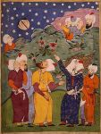"Mohammed Splits the Moon. Illustration taken from a ""Falnameh,"" a sixteenth century Persian book of prophesies. Artist unknown; watercolor painting; Mohammed is the veiled figure on the right. Currently housed in The Saxon State Library, Dresden, Germany, part of an exhibition that was displayed at The Library of Congress in 1996."