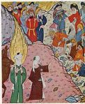 An imagining of Abu Bakr stopping the Meccan Mob, in a Turkish miniature from the 16th century C.E.