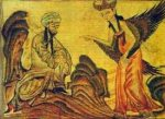 Fourteenth-century Persian miniature showing the Angel Gabriel speaking to Mohammed.
