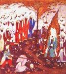 627 yılında Medine pazarda Banu Kurayza kabilesinin yaklaşık 800 Yahudi tutsakların kafalarının kesilmesi